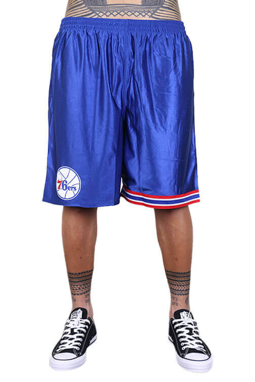 M&N 76ers Dazzle Shorts Royal Front