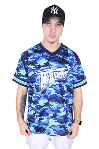 M&N Warriors Tonal Camo Mesh V-Neck Blue Front