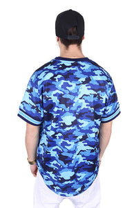 M&N Warriors Tonal Camo Mesh V-Neck Blue Back