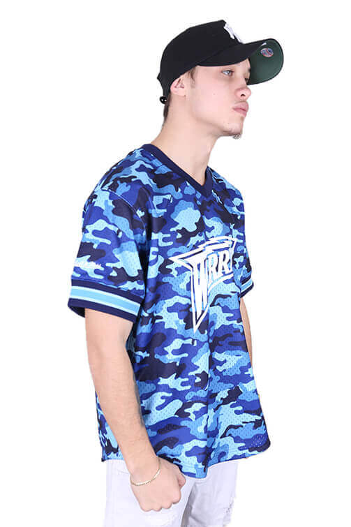 M&N Warriors Tonal Camo Mesh V-Neck Blue Angle 2