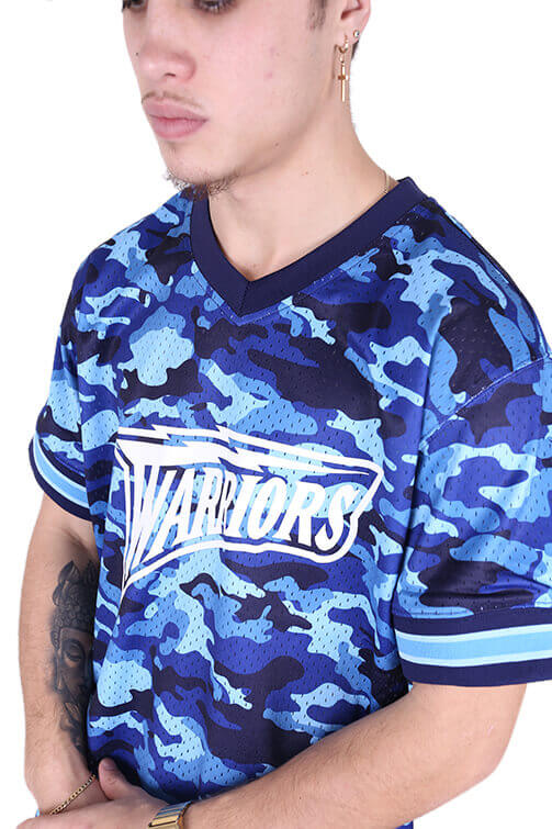 M&N Warriors Tonal Camo Mesh V-Neck Blue Detail 1