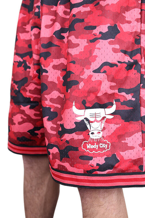 M&N Bulls Camo Mesh Short Red Detail 2