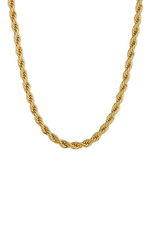 Staple 3mm 18k Gold Stainless Steel Rope Chain