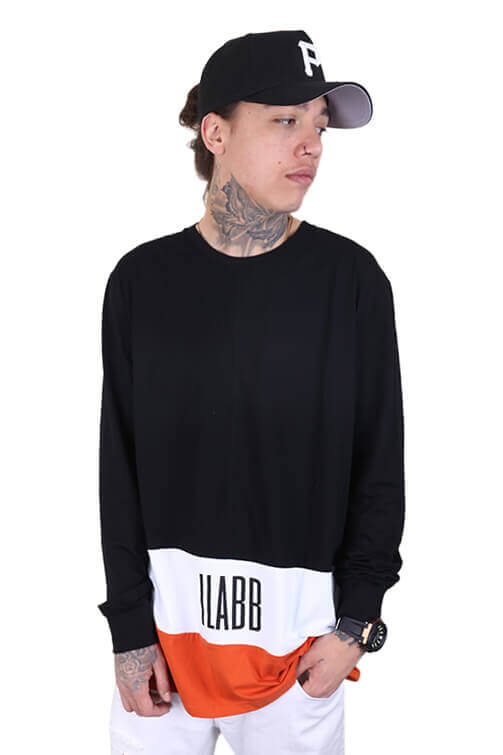 Ilabb Bank LS Tee Black/White/Orange Front