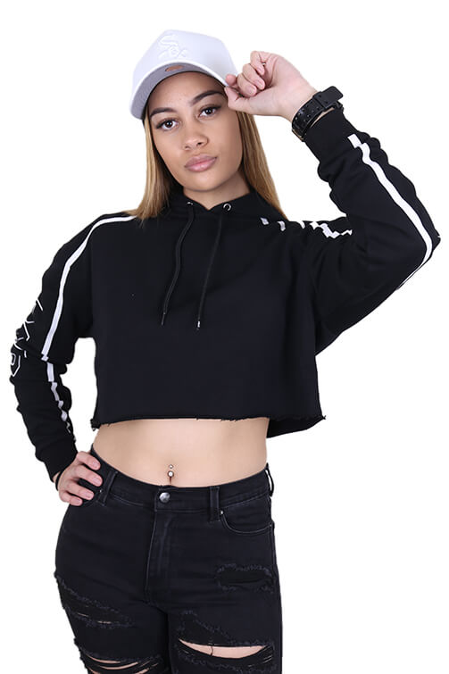 Ilabb Womens High Cropped Hood Black Front