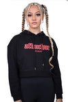AFKNCHUR Womens Hollow Cropped Hoody Black Red