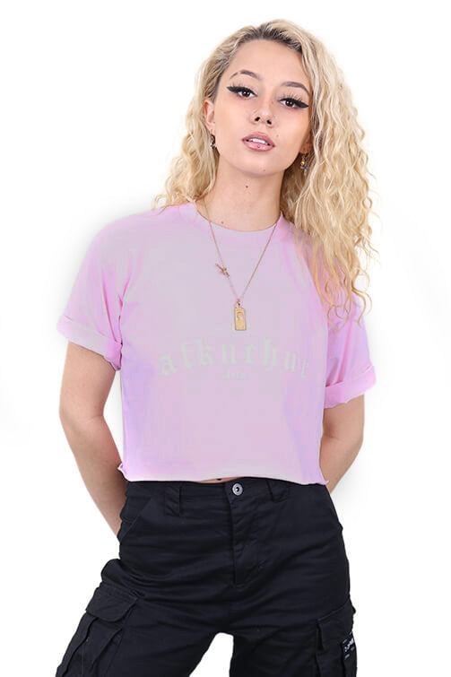 AFKNCHUR Pro Club Womens Lifestyle Baggy Crop Pink
