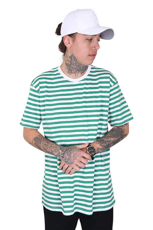 As Colour Staple Stripe Tee White / Green Front