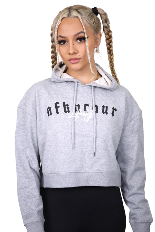 AFKNCHUR Womens OG Cropped Hoody Heather Grey