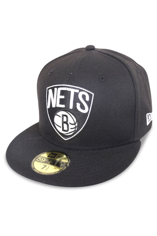 New Era 5950 Nets Black / White Fitted Angle