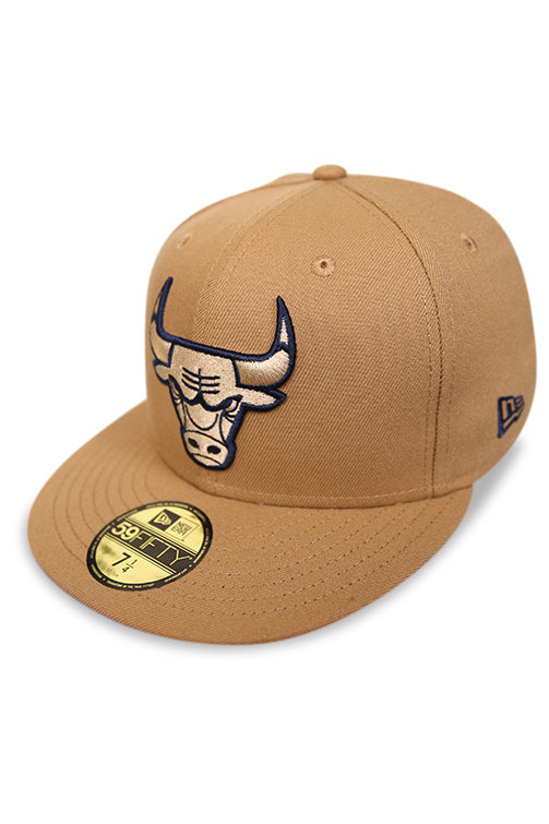 New Era 5950 Bulls Wheat/Navy Fitted Angle