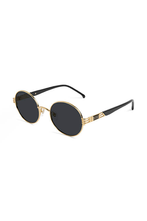 9Five Sunglasses - Iris Black and 24k Gold Angle