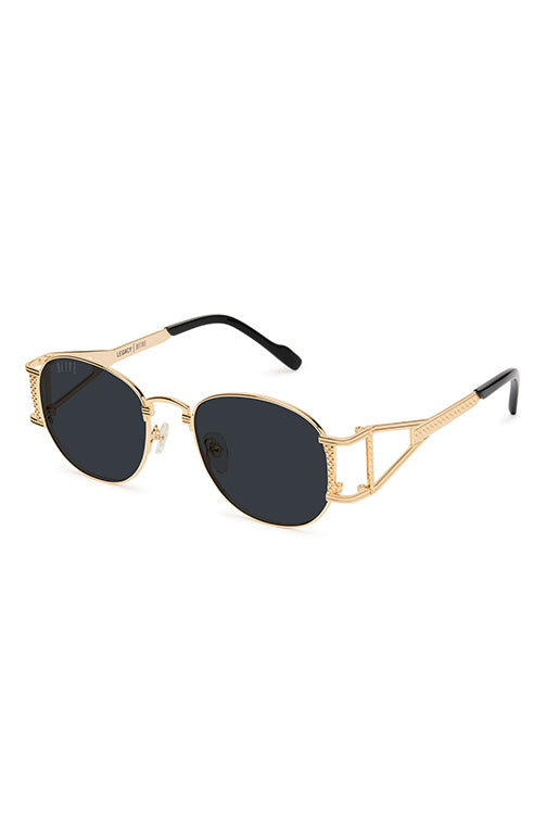 9Five Sunglasses - Legacy Black and Gold Angle
