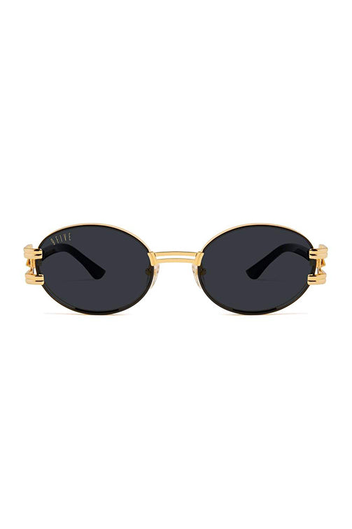9Five Sunglasses - St. James Bolt Black and Gold Front