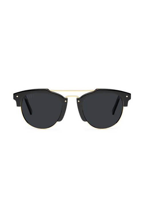 9Five Sunglasses - Del Ray Black and Gold Front