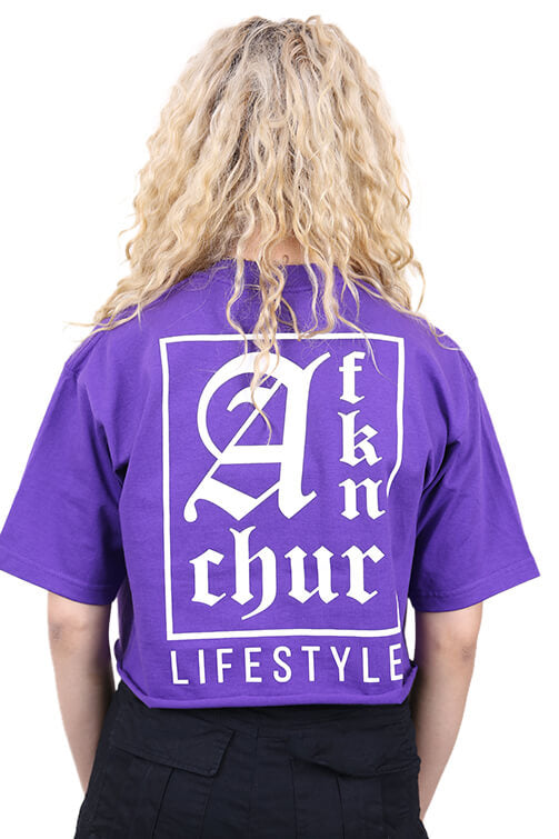 AFKNCHUR Pro Club Womens Lifestyle Baggy Crop Purple