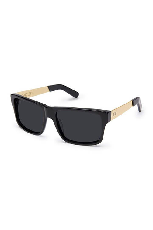 9Five Sunglasses - Caps LX Black Gold Polarised Angle