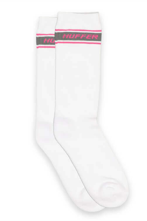 Huffer Slant Band Crew Sock White