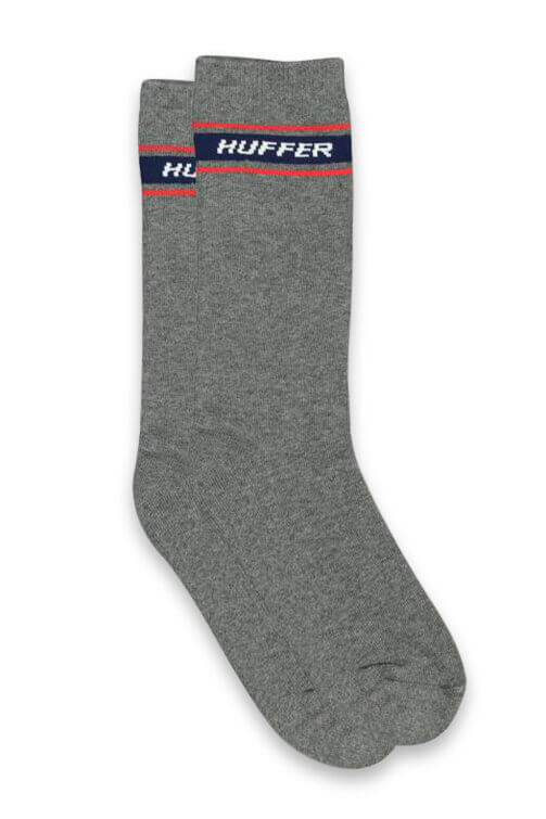Huffer Slant Mini Band Crew Sock Grey Marle