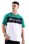 Champion EU Colour Block Tee Green/White Detail