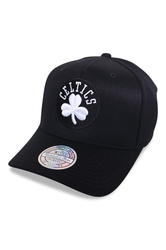 M&N 110 Boston Celtics Black White Snapback  Angle