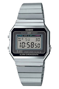 Casio Dig Gents Vintage S/Watch Silver A700W-1A Front