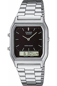 Casio Dress Duo Silver Tone Metal Band AQ230A-1DS Front