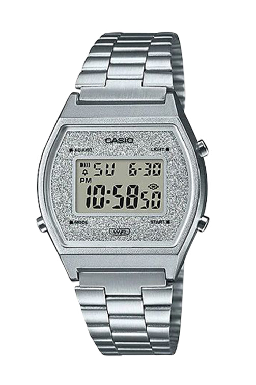 Casio Dig Vintage Silver Glitter Face B640WDG-7D Front