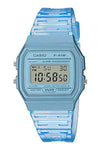 Casio Digital Watch Blue Translucent F91WS-2D Front