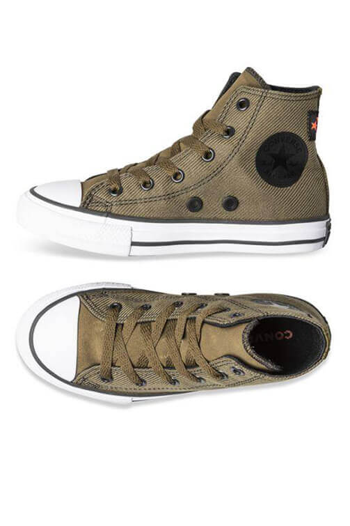 Converse Youth Twill High Top Surplus Olive Side & Top