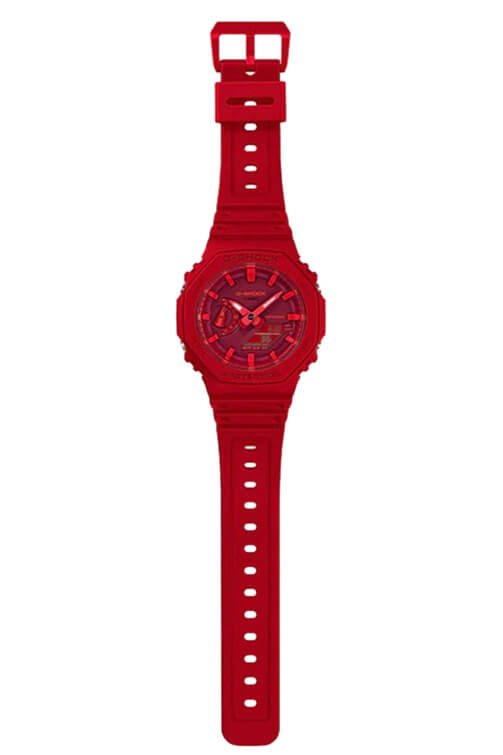Casio New Basic Duo Slim Alarm Red GA2100-4A Detail