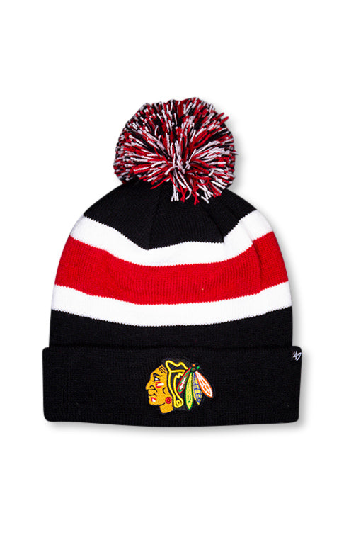 47 Brand Chicago Blackhawks Black Breakaway Cuff Knit Front