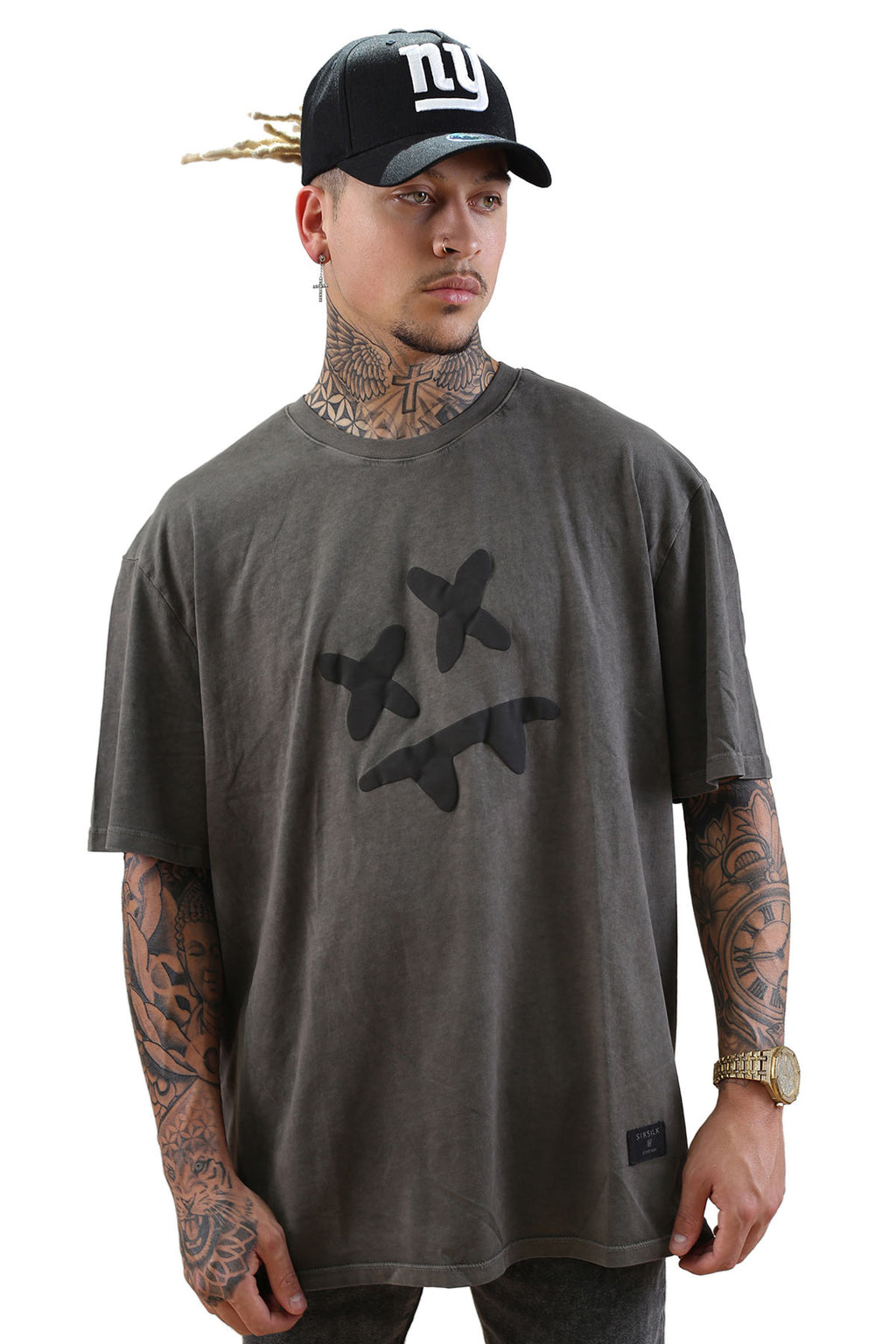 SikSilk X Steve Aoki S/S Essential Tee Wash Grey