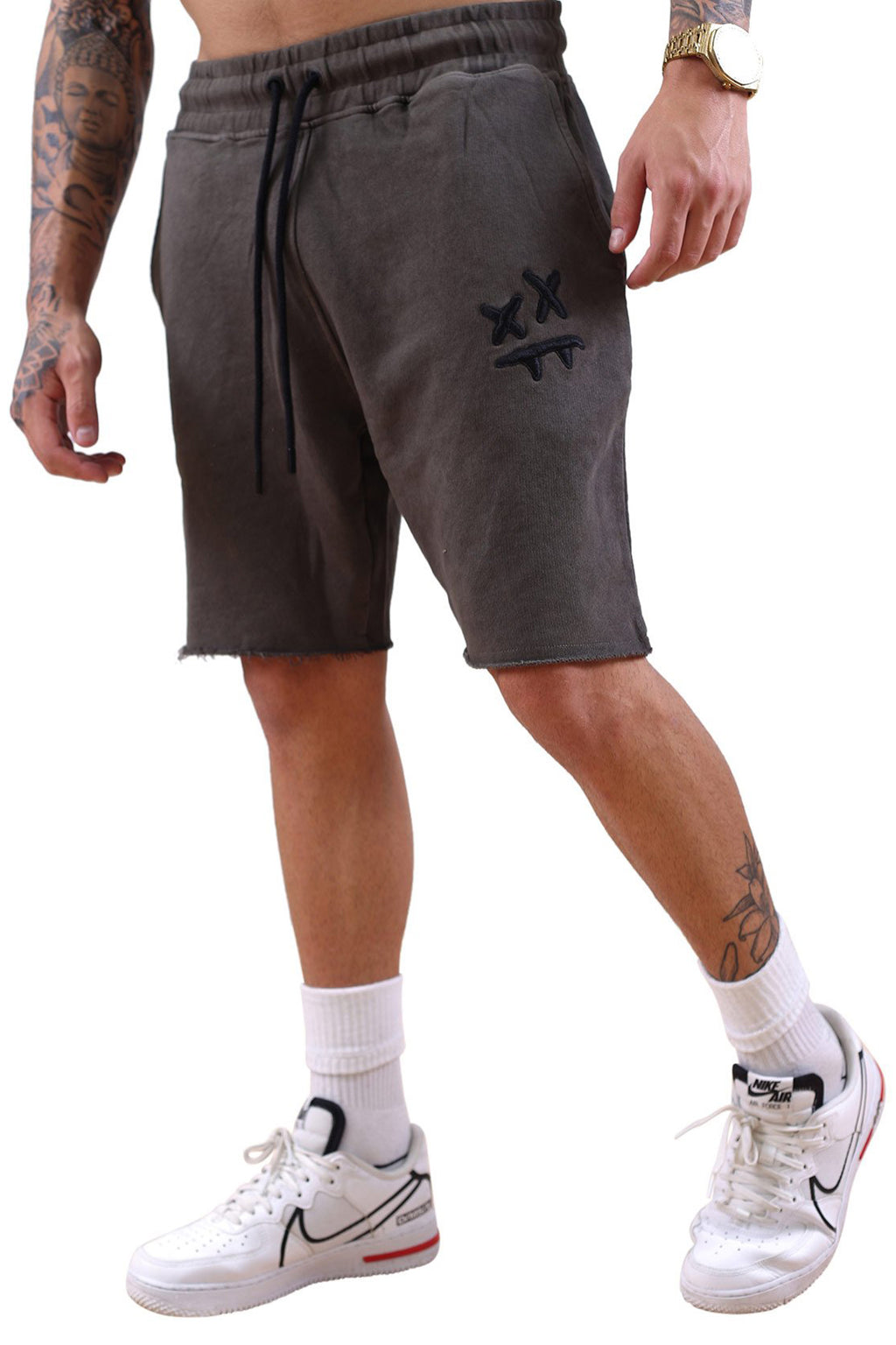 SikSilk X Steve Aoki Relaxed Shorts Wash Grey
