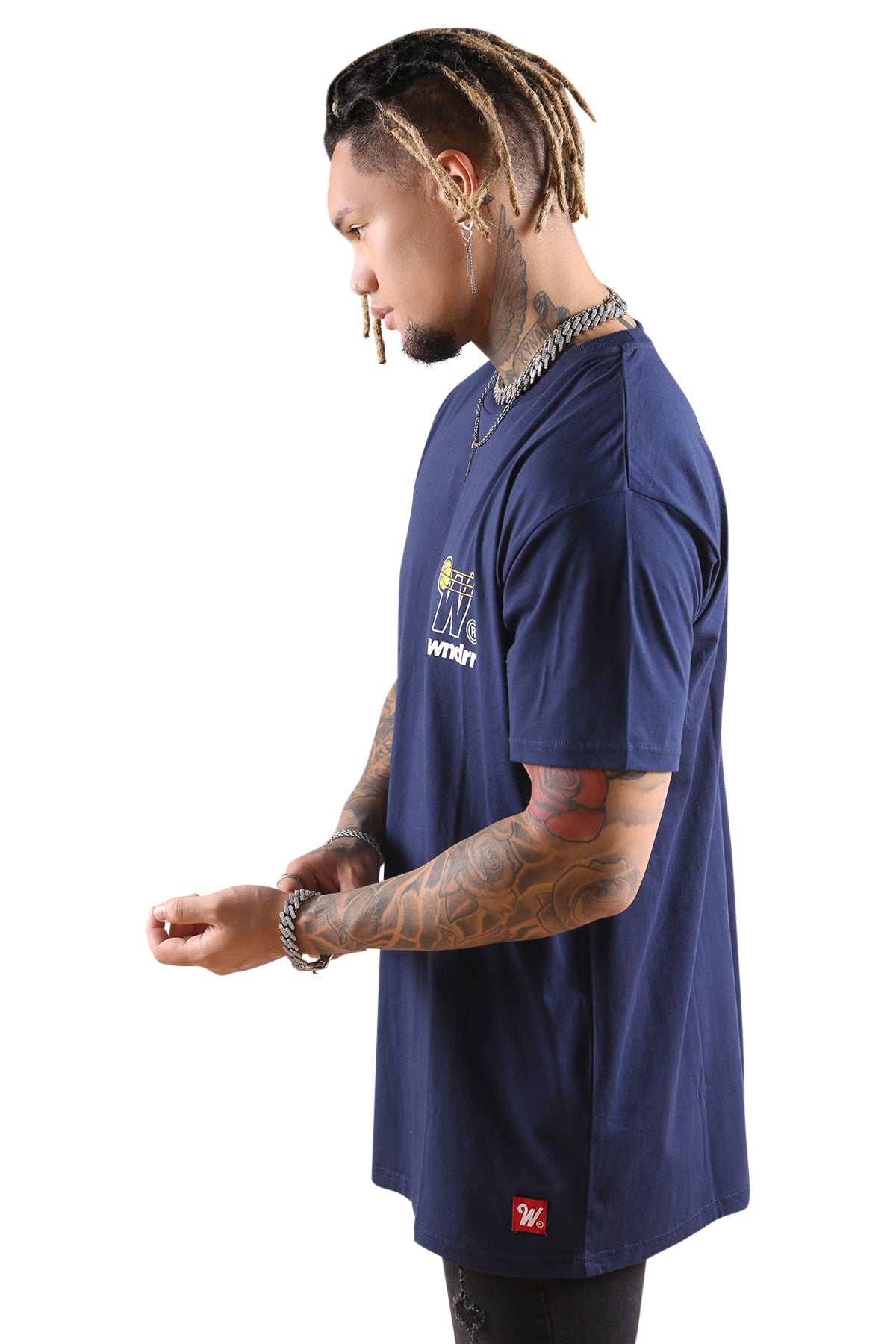 WNDRR In Bound Custom Fit Tee Navy Angle 2