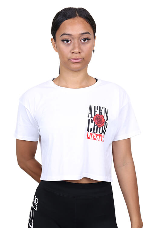 AFKNCHUR Womens Original Rose Crop White Front