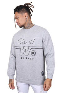 WNDRR Overtime Crew Sweat Grey Marle Front 2