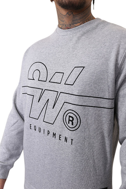 WNDRR Overtime Crew Sweat Grey Marle Detail 1