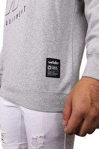 WNDRR Overtime Crew Sweat Grey Marle Detail 2