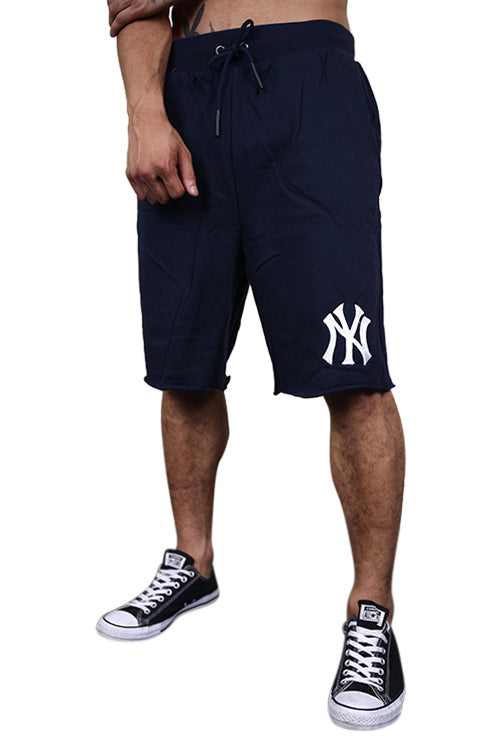Majestic NY Raw Edge Fleece Short Navy