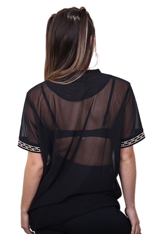 SikSilk Luxury Mesh Tee Black Back