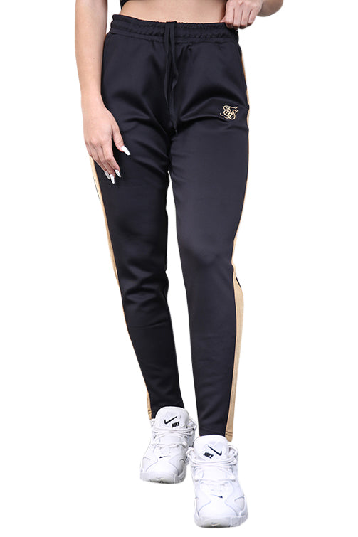 SikSilk Satin Panel Track Pants Black Front