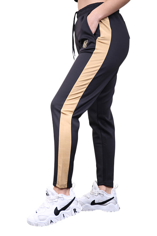 SikSilk Satin Panel Track Pants Black