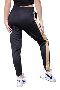 SikSilk Satin Panel Track Pants Black Back