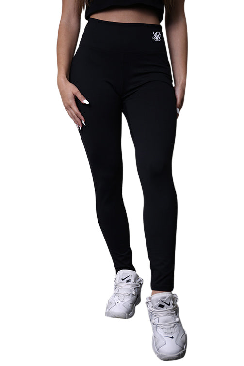 SikSilk Gym Leggings Black Front