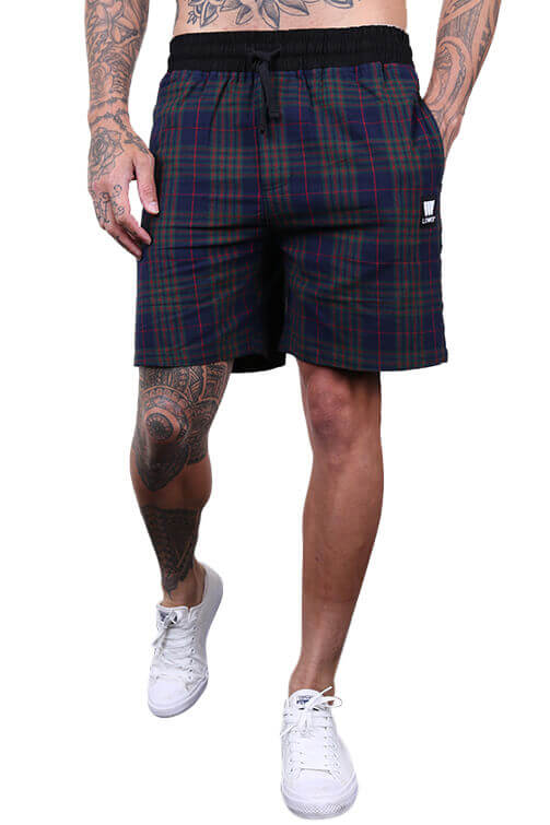 Lower Lo Town Plaid Shorts Navy/Green Front