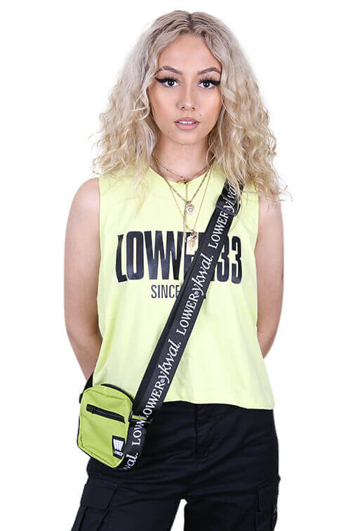 Lower Womens Dippin Cropped Tank Yellow Front