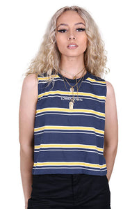 Lower Womens Logo Cropped Tank Navy Front