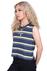 Lower Womens Logo Cropped Tank Navy Angle