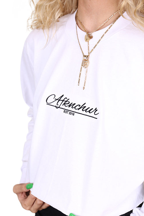 AFKNCHUR Pro Club Womens L/S Baggy Crop White